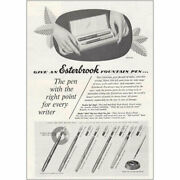 1952 Esterbrook Fountain Pens Right Point For Every Writer Vintage Print Ad