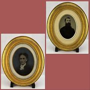 Pair Of 19th Century Tintypes In Oval Frames. Portraits Of Husba Bimk/191217