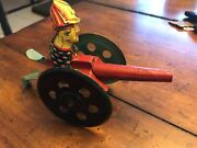 Vintage Rare Misprint Water Cannon Lever Fireman Tin Toy Working Great