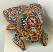 Rare Vintage Huichol Mexico Tribe Bead Art Carved Sculpture Fly - Unusual Signed