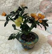 Antique Chinese Jade Tree With Cloisonne Pot