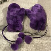 Rare Coach Purple Real Fur Mittens - Satin Lined -  Retail 400 - Never Worn