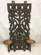 Vtg Antique Iron Wall Sconce Double Candle Holders Heavy 20+ Lbs Bird, Floral