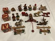 17 Pc Vintage Wooden Christmas Ornaments Craft Lot Rustic Country Primitive Rare