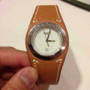 Hermes Paris Ha3.710 Whie Dial 1554567 Brown Leather Watch Shipped From Japan