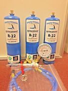 Refrigerant 22 R-22 Refrigeration A/c 3 28 Oz Cans Recharge Kit Nice New