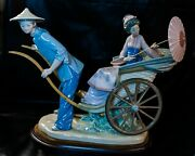 Lladro 1383 A Ride In China W/ Wooden Base, Excellent Condition, No Flaws