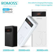 Romoss Power Bank 3a Fast Charge 18w Pd Portable Charger Usb-c External Battery