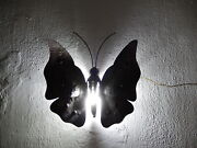 Midcentury Italian Brutalist Wrought Iron Butterfly Sconce Wall Light
