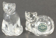 Lenox Clear Fine Crystal Figural Cats Salt And Pepper Shakers Made In Germany