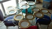 12 Pieces Vintage Wheeling Decorating Company 22 Kt. Gold 10.5andrdquo Dinner Plates