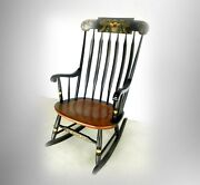 Hitchcock Furniture Black And Maple Rocking Chair - Gold Floral Designs