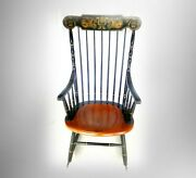 Hitchcock Furniture Spindle Black And Maple Rocking Chair - Gold Floral Designs