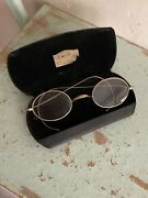 Antique Gold Stevens And Co. Eyeglasses Spectacles Curl Temples Oval Wire Rimmed