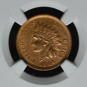 1864 L Indian Head Certified Au Details By Ngc, 7, Nice Red Brown Initialed Coin
