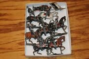 Vintage Antique Lead Toy Lot Soldiers On Horse Soldier One W/ Flag 8 Piece Old.