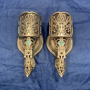 Heavy Pair Quality Antique Bronze Brass Sconces Mica Shades Rare 94c