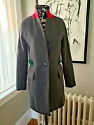 Aryn K Anthropologie Wool Size Small Dark Gray With Green And Pink Accents Euc