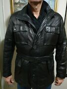 Salvatore Ferragamo Mens Coat As New Size 52 Leather Coat. Wool/cashmere Lined