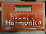 How To Play The Harmonica - Instruction And Song Book, Cloth Pouch And Harmonica