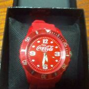 Coca-cola Sr626 Super Rare Red Watch With Box Shipped From Japan