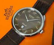 [oh] Hermes Arseau Ar4.810 Automatic Brown Menand039s Watch W/ Genuine Leather And Box