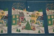 Victorian Christmas Village And Carolers Tapestry Panel Lot Of 3 - 9 Square Total