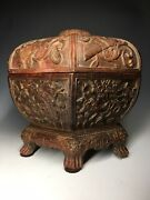 Rare Chinese Ming Carved Cinnabar Lacquer Wood Paneled Lidded Eight Treasure Box