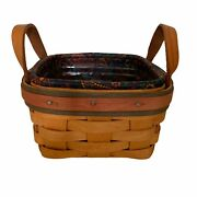 Longaberger 1999 Fathers Day Spare Change Basket Leather Handles Protector Liner