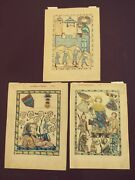 One Of A Kind Set Of 3 Codex Manesse Hand-colored Facimile Bookplates