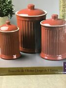 Simsbury Set Of 3 Canisters 88 Oz 44 Oz 24 Oz Stoneware Brand New Red