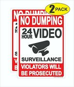 No Dumping Sign Metal 9x12 2 Pack Lot Surveillance Violators Will Be Prosecuted