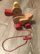Vintage Haba Retro, Wooden Duck Pull Toy, Waddles When Pulled - Made In Germany