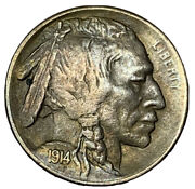1914-s Buffalo Nickel, Nice Toning, Attractive Choice Au/unc Better Date