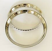 2 X Original Style Ribbed Early Ford Wheel Trim Rings/ Beauty Rings-pol S/s- 15