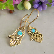 Hamsa Dangle Earrings 14k Solid Yellow Gold With Blue Opal Thanksgiving Sale