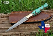 Hand Forged Damascus Steel Dagger Throwing Boot Knife And Risen W/brass Handle1438