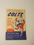 Vintage 1959 Baltimore Colts And Nfl League Pocket Schedule National Bohemian
