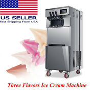 New Commercial Soft Ice Cream Maker Three Flavors2 Single+1 Mixed Machine--usa