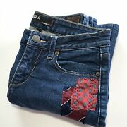 Upcycled Bdg Cigarette Jeans, Patched, Silk Tie, Handstitched, Ooak, Size 29