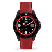 Ice Black Stainless Steel Case With Red Silicone Strap Men's Watch. 015782