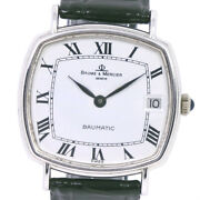 Baume And Mercier 37069 Baumtatic Watches K18 White Gold/leather Mens Whitedial