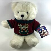 """Vintage 1991 Kmart Christmas Teddy Bear Plush In Sweater 18"""" - New W/ Tags"""