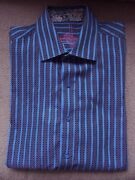 Robert Graham Tailored Fit Mens Embroidered Striped Cotton Button Down Shirt Med