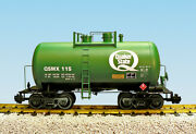 Usa Trains G Scale Beer Can Tank Car R15220 Quaker State - Green