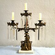 Cast Iron Candelabra Candle Holder Hanging Crystals Antique Gothic Ta