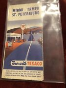 Vintage 1955 Texaco Oil Road Map Miami-tampa And St Pete Florida Very Rare