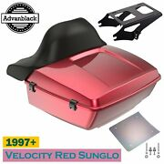Velocity Red Sunglo King Tour Pack Wrap Around Backrest For 97+harley Touring