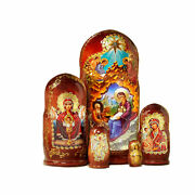 Wooden Icon Nesting Dolls Icons Nativity Of Christ Three Handed Virgin Mary