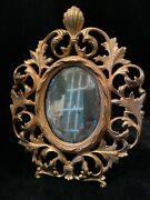 Antique Gold Gilt Cast Iron Rococo Oval Tabletop Beveled Mirror Frame